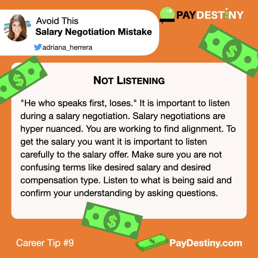 Reach career goals avoid this salary negotiation mistake IG (Not Listening)