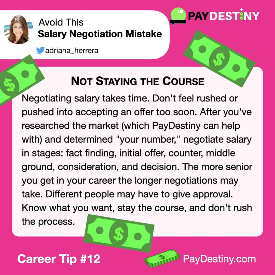 Reach career goals avoid this salary negotiation mistake IG (Not Staying the Course)