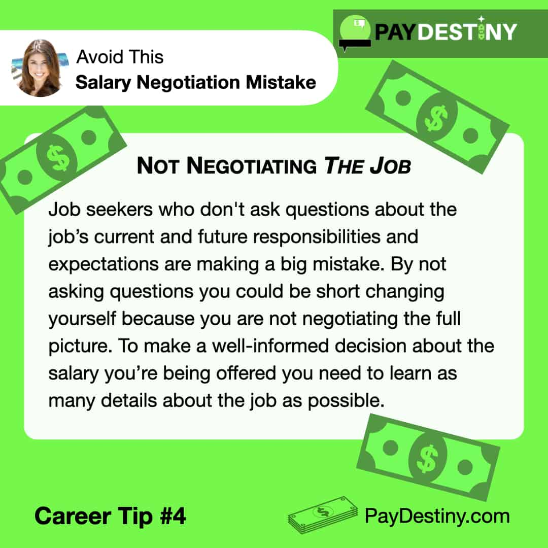 Reach Career Goals Avoid This Salary Negotiation Mistake Not Negotiating The JobReach Career Goals Avoid This Salary Negotiation Mistake Not BelievingReach Career Goals Avoid This Salary Negotiation Mistake Accepting the First OfferReach Career Goals Avoid This Salary Negotiation Mistake Not Giving Reasons IG (Career tip #4)