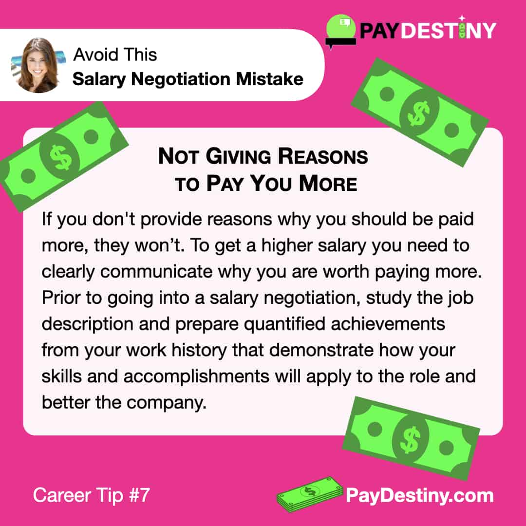 Reach Career Goals Avoid This Salary Negotiation Mistake Not Giving Reasons IG (Career tip #7)